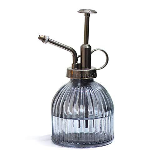 LONG Verre Transparent arrosage Bouteille Spray, Top Bronze Vintage Style Spritzer Plastique, Pompe pulvérisateur à Main en Verre Arrosoir d'intérieur (Couleur : Gris)