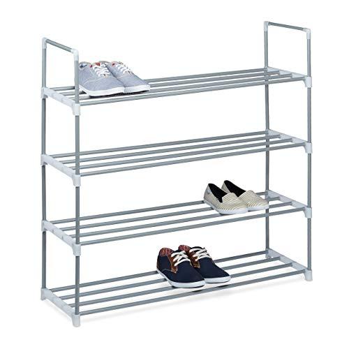 Relaxdays Zapatero Metal, Estantería Zapatos, Estante, 4 Baldas, Metálico, 16 Pares, 1 Ud, 93 x 90 x 30 cm, Plateado
