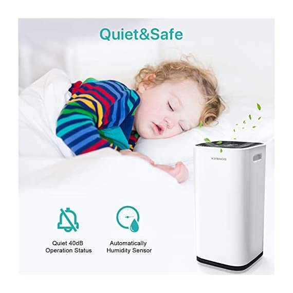 Kesnos 70 pint dehumidifiers for spaces up to 4500 sq ft at home and basements pd253d,white 4 kesnos dehumidifier for spaces up to 4500 sq ft - our dehumidifier removes up to 70 pint (50 pint new doe 2019) of moisture per 24 hours, fit for medium to large rooms in areas up to 4, 500 sq. Ft. And is able to adjust humidity from 30% to 85%, you can maintain a healthy 45%-55% humidity range easily! A dehumidifier perfect for home, basements, office, bathroom, bedroom, kitchen, stockroom, living room, laundry room, cellars, crawlspace by removing humidity. Unique design for the modern home - the kesnos dehumidifiers designed with sleek and modern look. With 360° easy-roll hidden wheels and ergonomically recessed handles, you can move around this dehumidifier easily. It is quiet operation that won't disturb you when you sleep or at work and adjustable fan speeds for multiple choices. With dry clothes function, you simply place the dehumidifier in a room where you can hang the wet clothes and let it dry clothes naturally. Easy to use dehumidifiers - simply adjust to your ideal moisture setting, then let it run its continuous 24-hour cycle until the tank is full, at which point it will automatically shut-off. 2 drainage options for your draining choices: auto drain: the with included 6. 56 feet drain hose for continuously auto-drain your dehumidifier without emptying the water bucket. Manual drain: the 1. 18 gallons water tank and bucket full indicator lets you know when the water bucket needs to be emptied.
