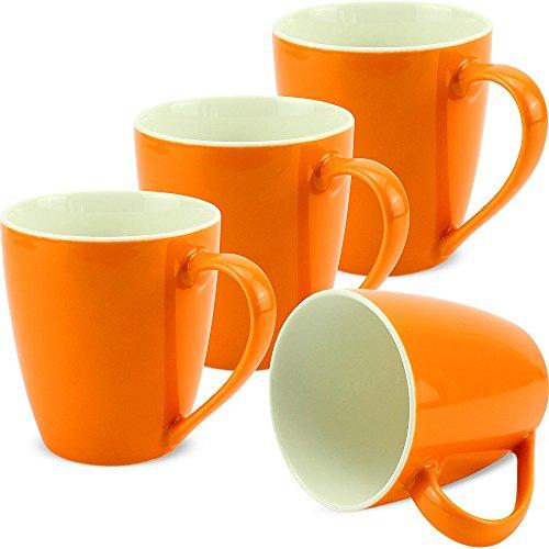matches21 Tassen Becher Kaffeetassen Unifarben/einfarbig orange Porzellan 4er. 10 cm / 350 ml - ohne Tassenhalter
