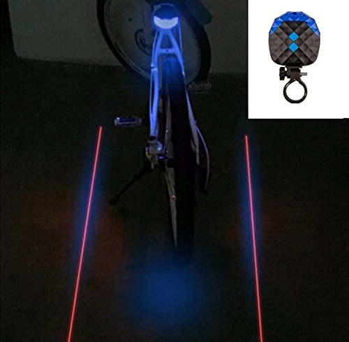 BlueSunshine 2 Laser + 5 LED 7 Modes Super Lighting Cycling Bicycle Bike Taillight Warning Flashing Lamp Alarm Light/LED Safety Light for Mountain Bike Cycling Water Resistant Rear Lights (Blue)