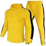 amropi Tute da Ginnastica Uomo Sportiva Set Pullover Felpa con Cappuccio e Jogging Pantaloni 2 Pezzi Tute Giallo,M