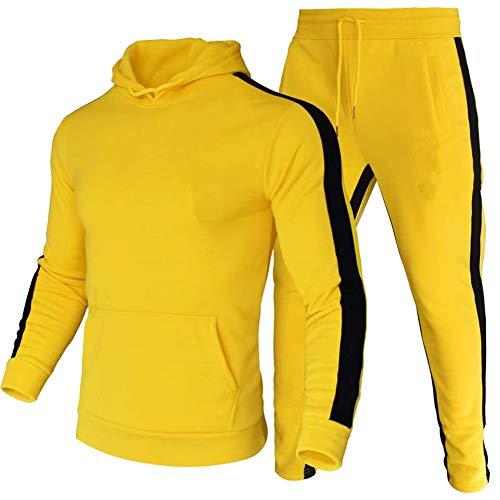 amropi Tute da Ginnastica Uomo Sportiva Set Pullover Felpa con Cappuccio e Jogging Pantaloni 2 Pezzi Tute Giallo,XXL