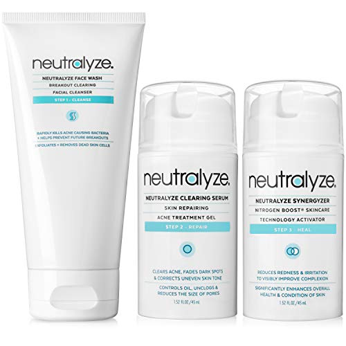 Neutralyze Moderate To Severe Acne Treatment Kit (30 Day) - Maximum Strength Anti Acne Medication With Salicylic Acid + Mandelic Acid + Nitrogen Boost Skincare Technology