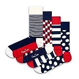 Happy Socks Calcetines Classic Navy Socks Gift Set 4-Pack Gift Box Coloridas y Alegres para Hombre y Mujer - Algodón- talla 36-40