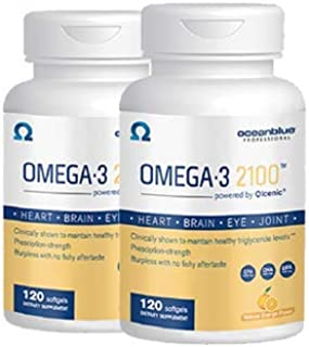 Oceanblue Omega 3 2100-120 Softgels - 2 Pack - Triple Strength Burpless Fish Oil ? Molecularly Distilled - High Concentrat...