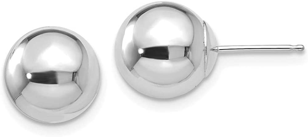 Roy Rose Jewelry 14K White Gold Polished 9mm Ball Post Earrings