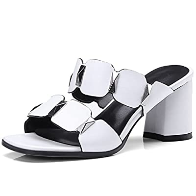 Sky-Pegasus White Fashion Summer Shoes Woman Thick Mules Shoes Elegant Women Slippers high Heels