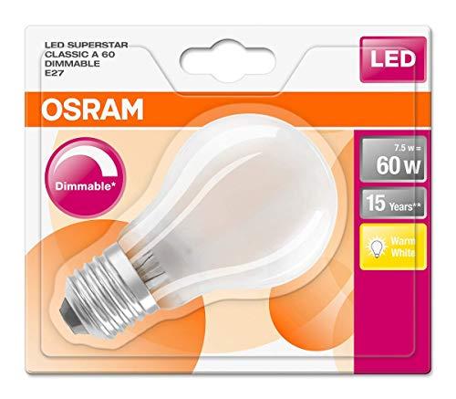 Osram LED SuperStar Classic A Lampe, in Kolbenform mit E27-Sockel, dimmbar, Ersetzt 60 Watt, Matt, Warmweiß - 2700 Kelvin, 1er-Pack