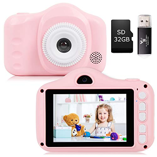 YUNKE Appareil Photo pour Enfants, Appareil Photo pour Enfants avec écran de 3,5 Pouces 8,0MP 1080P HD pour Enfants de 2 à 10 Ans, Cadeau d'anniversaire de Noël (Rose)