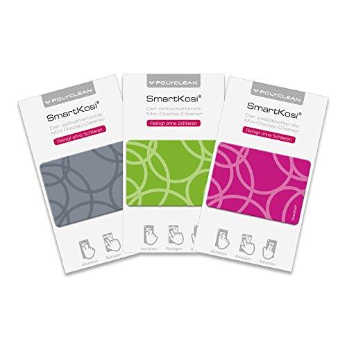 POLYCLEAN 3x SmartKosi Display-Cleaner – Selbsthaftende Reinigungspads für Smartphone, iPhone, Tablet & co. – Streifenfreie Displayreinigung – Made in Germany (5,2 x 3,7 cm, Motiv