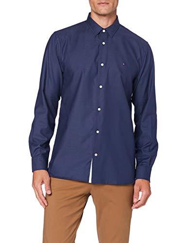 Tommy Hilfiger Flex Two Tone Dobby Shirt Camisa, Azul (Dark Blue), M para Hombre