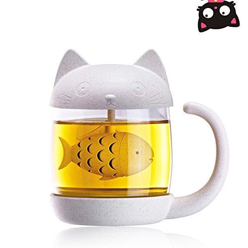 Teetasse mit abnehmbarem Fisch-Infuser-Filter, Teesieb, 363 ml, Glas-Teetasse, Katzenschwanz, Kaffeetasse, Tee, schöne Tasse für Mädchen, Valentinstag und Kinder Geschenk