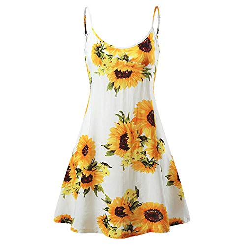 TWGONE Sunflower Dresses for Women Casual Summer Vintage Printed Sleeveless Strappy Beach Swing Camis Dress(Large,White)