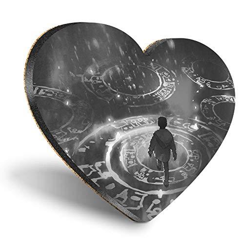 Posavasos con forma de corazón de MDF – BW – Puzzle mágico Fantasy Gamer | Posavasos de calidad brillante | Protección de mesa para cualquier tipo de mesa #36025