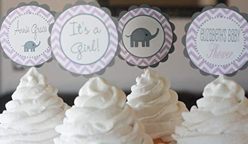12 - Elephant Baby Shower Cupcake Toppers - Lavender Purple & Grey Chevron - Party Packages, Favor Tags, Banners, Door Signs Available