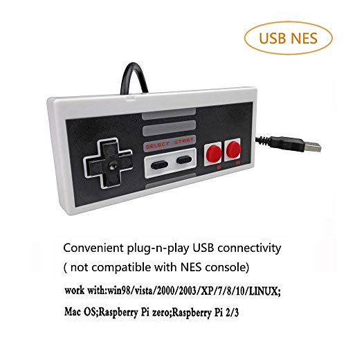 DOORGA 5.8 feet Classic USB Wired Controller for NES Gaming, Retro Game Pad Joystick Raspberry Pi Gamepad for Windows PC Mac Linux RetroPie NES Emulators