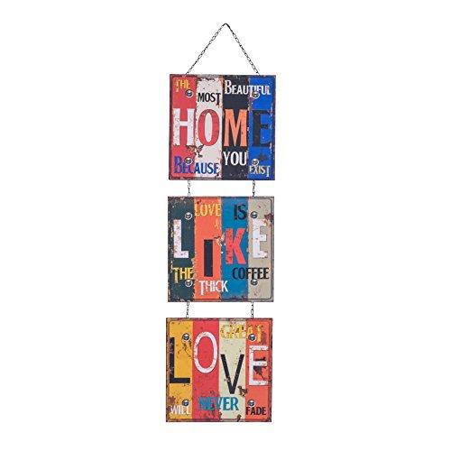 Rebecca SRL Decoration Murale Poster 3 Plaques Home Like Love Retro Chambre Couloir Bar (cod. RE4704)