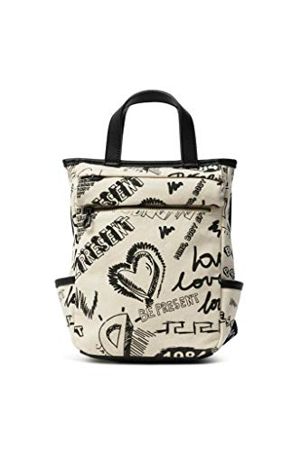 Desigual Backpack Medium, Fabric-Mochila (tamaño Mediano) para Mujer, Blanco