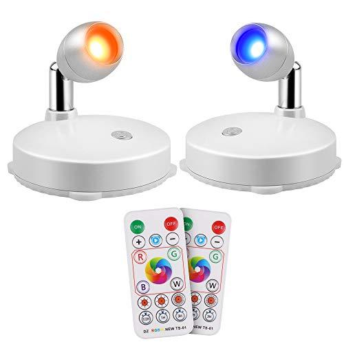 RGB Wandspots, Eterbiz LED Schrankbeleuchtung, Dimmbar LED Nachtlicht mit Fernbedienung, Überall zum Aufleuchten von Gemälden aufkleben Picture Artwork Closet, 2er