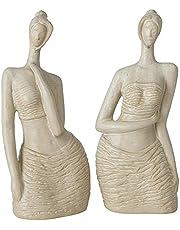 Decoratieve figuren set van 2 gesorteerd vrouwen busten H 34cm van aardewerk