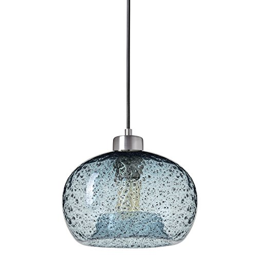 Casamotion Pendant Lighting Handblown Glass Drop ceiling lights, Rustic Hanging Light Blue Seeded Glass with black sand powder, Brushed Nickel Finish