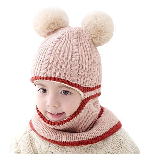 FEOYA - Bébés Bonnet Cagoule Écharpe Tricot Hiver Bonnet Cache-Cou Masque Coupe-Vent Garçon Fille Enfants Chapeau à Oreilles Chaude Earflap pour Ski Plein Air - Beige