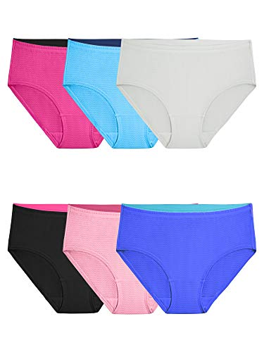 Fruit of the Loom Women's Underwear Breathable Panties (Regular & Plus Size), Low Rise Brief - Micro Mesh - 6 Pack, 6