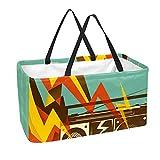 Grand sac à provisions réutilisable avec fond renforcé et poignée (imprimé musique radio)