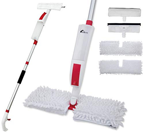 VENETIO Premium Flip Spray Mop for Floor Cleaning with 2 Washable Extra Refills & 1 Window Squeegee Head - 360 Dry Wet Flat Microfiber Dust Mop Perfect for Hardwood, Laminate, Tile, Vinyl and Walls