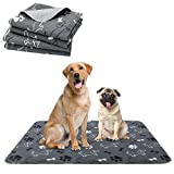 PAWCHIE Washable Pee Pads for Dogs - 2 Packs Non-Slip Reusable Dog Potty Training Mat, Super Absorbent Puppy Whelping Pad, Waterproof Dog Food Bowl Mats for Small Medium Large Dogs, 36' x 41'