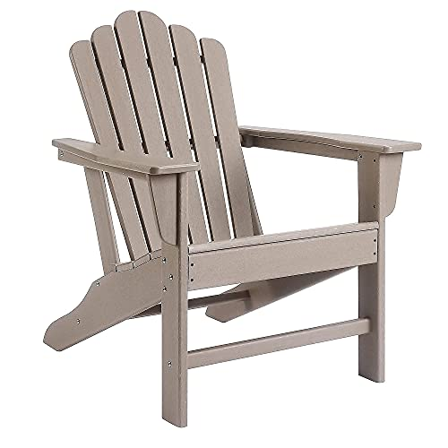 Ehomeline Adirondack Chair Plastic, Oversized Poly Outdoor Patio Chairs for Garden, Porch, Deck, Backyard, Fire Pit, Adirondack Chairs Weather Resistant, Brown