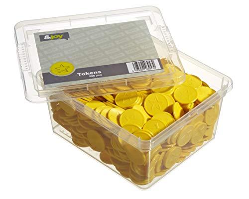 En-Joy Gravierte Pfandmarken - Gelber Stern - 500 Plastikmünzen - 29 mm