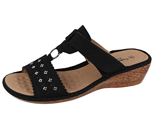 Ladies Faux Leather Laser Cut Diamante Foot Strap T Bar Peep Toe Slip On Low Wedge Backless Mules Summer Sandals Size 3-8 (Black, Numeric_5)