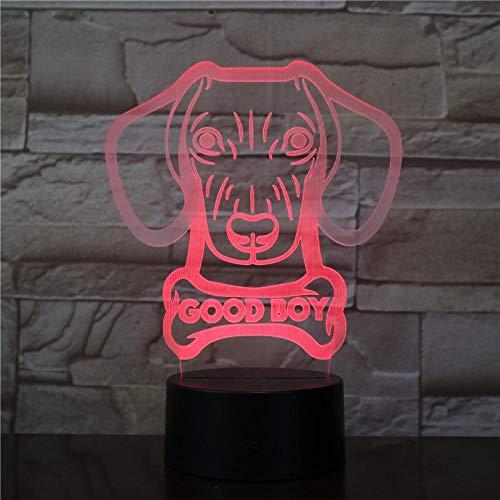 ARXYD 16 kleur nachtlampje tafellamp Dachshund worst hond vorm licht staat Wiener hond dier huisdier puppy mooie jongen hond naam gloed 3D Optische Illusie Nachtlampje voor jongens 16 Kleur veranderen Touch Tab