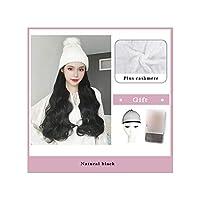 ナチュラル接続髪合成のBlack Hatカーリーヘアストレートヘアウィッグ弾性ニット帽子ウィッグ耐熱女性、2,22Inches