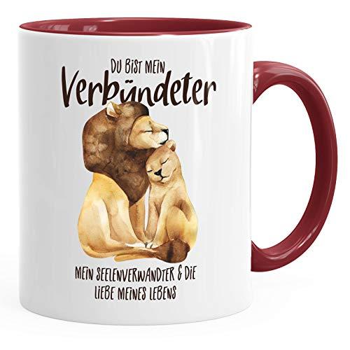 MoonWorks® Tasse Du bist mein Verbündeter Löwe Löwen Pärchen Liebe Spruch Geschenk Kaffee-Tasse Liebessprüche bordeauxrot unisize
