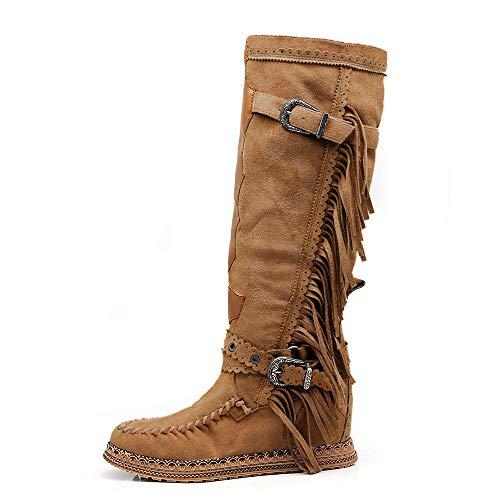 IF Fashion Scarpe Stivali Indianini Alti da Donna con Frange Zeppa 20-72 Camel N.39