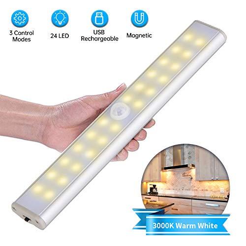 Luce Notte LED con Sensore,Lacyie 24LED Luce per Armadio Sensore di Movimento Luci USB Ricaricabile Batteria,Striscia Magnetica Adesiva e Interruttore,Lampada Barra LED per Armadio,Cucina,Corridoio