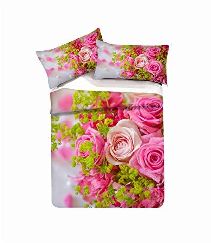 Stillshine Bettwäsche Set Mädchen 3D Rose Blume Modell Bettbezug und Kissenbezug Rot Blau Lila Weiß Mikrofaser Dame Frau (Pink,Einzelbett 135x200 cm)