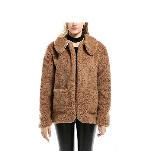 YUGNHAJ Kurzer Teddy-Mantel, Petite Cute Fuzzy Elegant Shaggy Jackenoberbekleidung für Damen,XXL