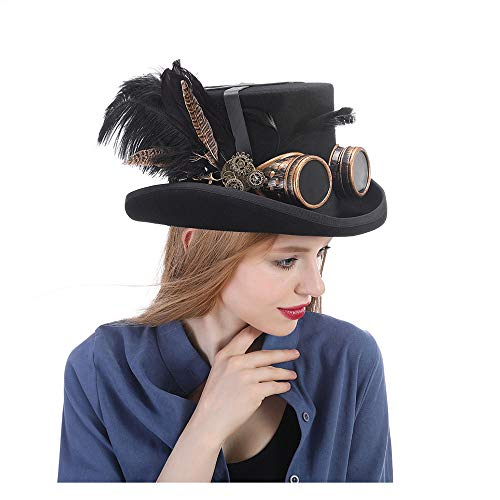 Xuguiping Festival kostuum set mannen vrouwen zwarte hoed met bril Steampunk Top Hoed Victoriaans Bruiloft Tophat Burning Men Cosplay Notenkraker Festival Hoed xuguiping