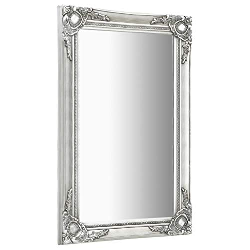 pedkit Espejo de Pared Estilo Barroco Espejos Decorativos de Pared para Dormitorio Baño Plateado 60x100 cm
