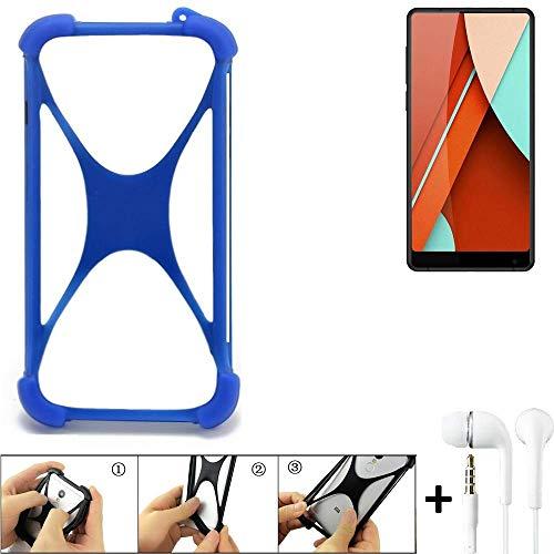 K-S-Trade® Bumper Für Bluboo D5 Pro Schutzhülle Handyhülle Silikon Schutz Hülle Cover Case Silikoncase Silikonbumper TPU Softcase Smartphone, Blau (1x), Headphones