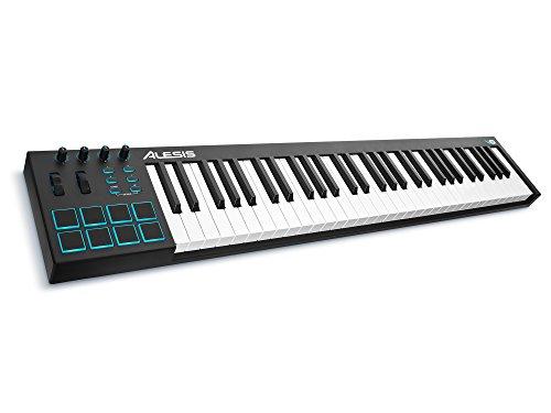 Alesis V61 - USB MIDI Pad/Tastatur Controller mit 61 Tasten, 8 anschlagdynamische-Pad mit 4 zuweisbare Regler und Taster