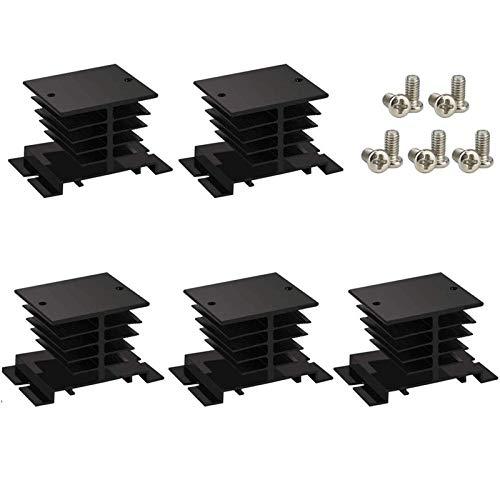SSR-10,25,40A Solid State Relay Heat Sink, 5PCS Aluminum Heatsink PID Temperature Controller Heat Sink with Solid State Relay Cover for Solid State Relay and SSR Radiator Module