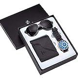 TCEPFS Uhr Geschenkset Box Herren Brieftaschen Uhren und Sonnenbrillen Herrenuhren Top-Marke Luxusarmband Quarz Armbanduhr Vatertagsgeschenke -