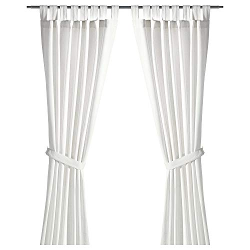 IKEA.. 301.119.78 Lenda Curtains with Tie-Backs, 1 Pair, Bleached White