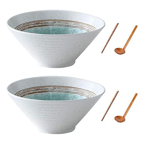 Wangxin Japanische Keramik Müslisuppenschalen, 2 Sätze 60 Unzen Kreatives Geschenk Retro Ramen Schalen mit Essstäbchen und Löffeln, mikrowellengeeignet, für Obstsalat, Gemüse, Nudel (Weiß, 2)