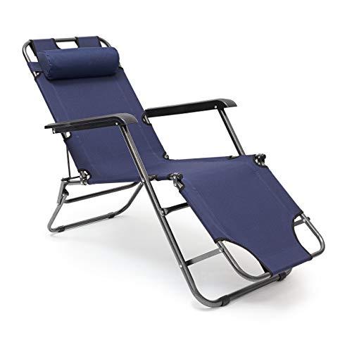 Relaxdays Sonnenliege klappbar HBT 35 x 60,5 x 153 cm Gartenliege 3-fach verstellbar mit Polyesterbezug und Armlehnen Liegestuhl zum Klappen mit abnehmbarem Kopfpolster als Campingstuhl, dunkelblau